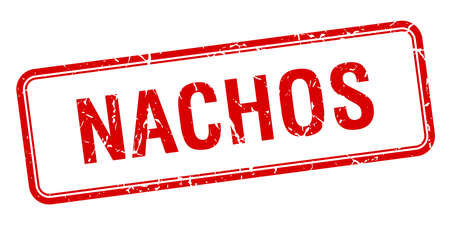 nachos: nachos red square grungy vintage isolated stamp