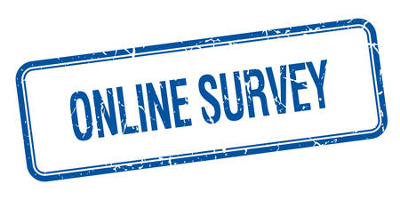 online survey: online survey blue square grungy vintage isolated stamp Illustration