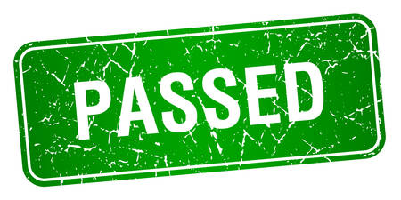 passed: passed green square grunge textured isolated stamp