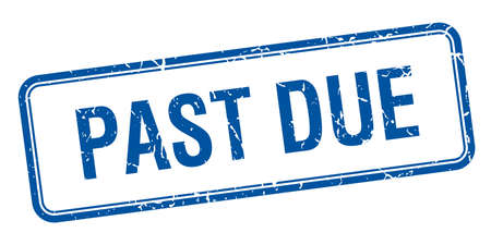 past due: past due blue square grungy vintage isolated stamp