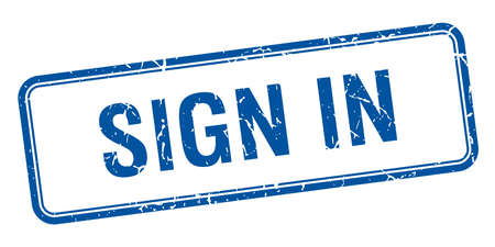 sign in: loggen Sie sich ein blaues Quadrat grungy vintage isoliert Stempel