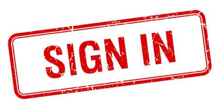 sign in: loggen Sie sich ein rotes Quadrat grungy vintage isoliert Stempel