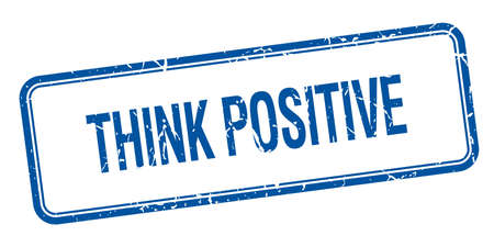 think positive: think positive blue square grungy vintage isolated stamp Illustration