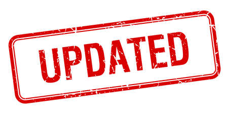 updated: actualizado cuadrado rojo aislado �poca grunge sello