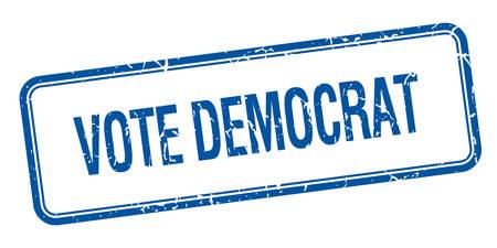 democrats: vote democrat blue square grungy vintage isolated stamp Illustration