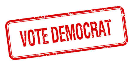 democrats: dem�crata del voto cuadrado rojo aislado �poca grunge sello