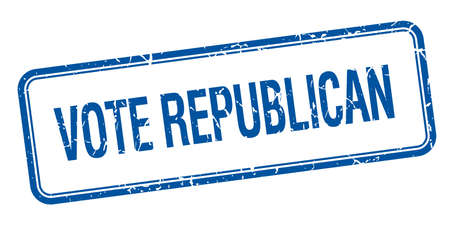 democrats: vote republican blue square grungy vintage isolated stamp Illustration