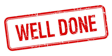 done: well done red square grungy vintage isolated stamp