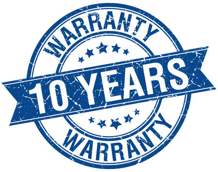 10 years: 10 years warranty grunge retro blue isolated ribbon stamp