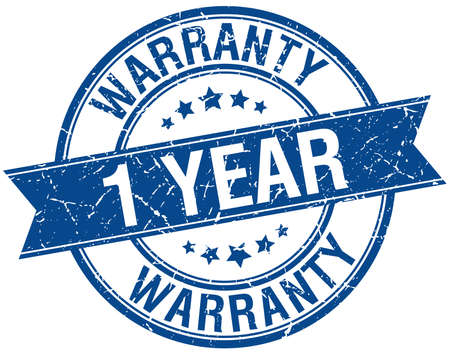 1 year warranty: 1 year warranty grunge retro blue isolated ribbon stamp Illustration