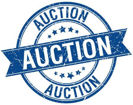 auction: auction grunge retro blue isolated ribbon stamp