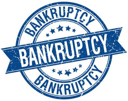 bankruptcy: bankruptcy grunge retro blue isolated ribbon stamp Illustration