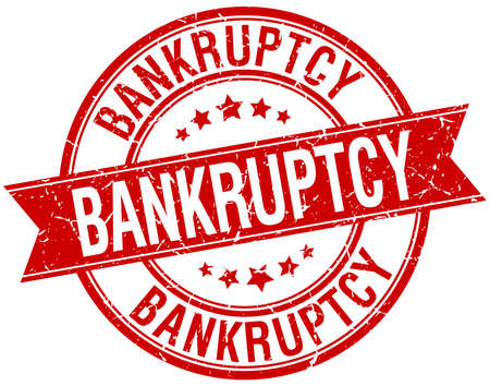 bankruptcy: bankruptcy grunge retro red isolated ribbon stamp Illustration