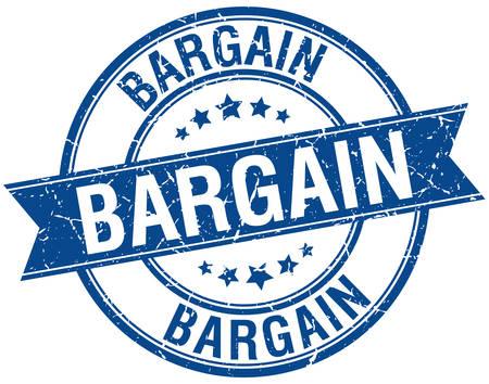 bargain: bargain grunge retro blue isolated ribbon stamp Illustration