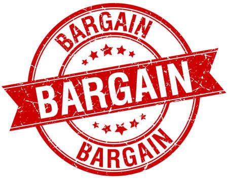 bargain: bargain grunge retro red isolated ribbon stamp