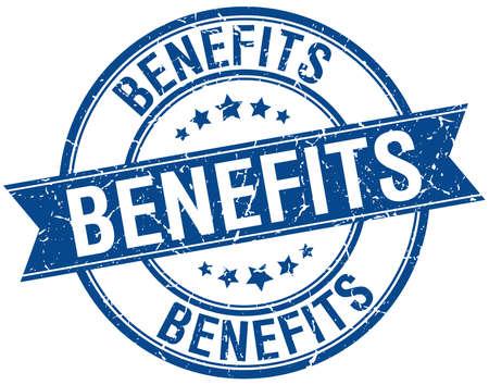 benefits grunge retro blue isolated ribbon stamp
