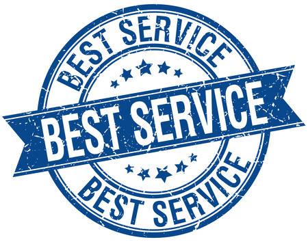 best service: best service grunge retro blue isolated ribbon stamp