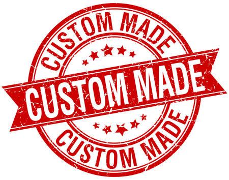 custom made: custom made grunge retro red isolated ribbon stamp
