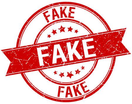 fake: fake grunge retro red isolated ribbon stamp