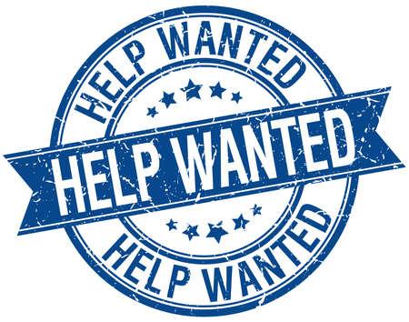 help wanted sign: Help Wanted grunge aislado azul retro sello de cinta Vectores