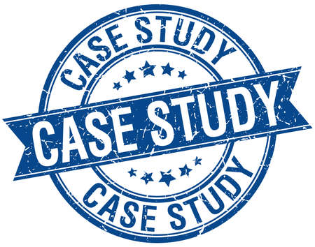 case study: case study grunge retro blue isolated ribbon stamp Illustration