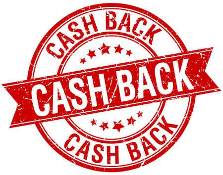 cash back: cash back grunge retro red isolated ribbon stamp