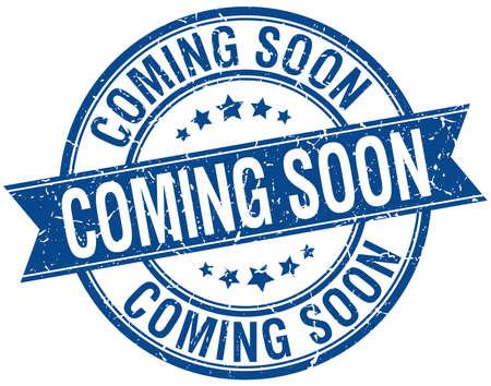 coming soon grunge retro blauwe geïsoleerd lint stempel Stock Illustratie