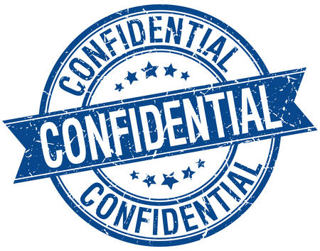 confidential: confidential grunge retro blue isolated ribbon stamp Illustration