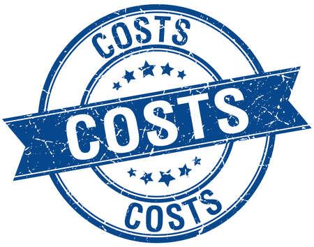 costs: costs grunge retro blue isolated ribbon stamp