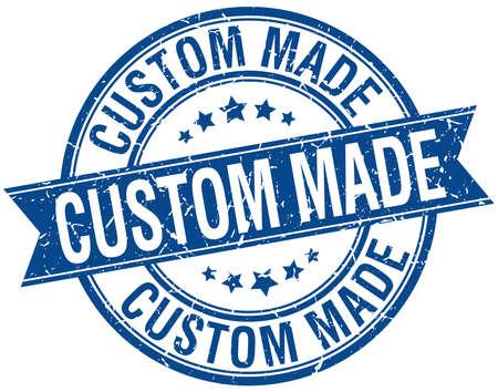 custom made: custom made grunge retro blue isolated ribbon stamp Illustration