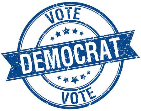 democrats: grunge dem�crata retro azul aislado sello cinta Vectores