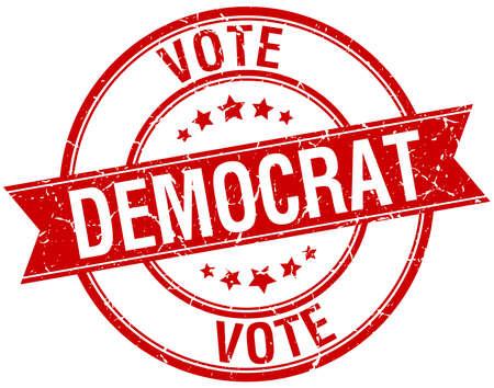 democrats: grunge dem�crata retro rojo aislado sello de cinta Vectores