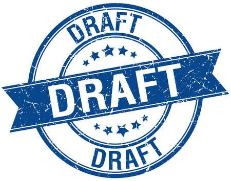draft: draft grunge retro blue isolated ribbon stamp