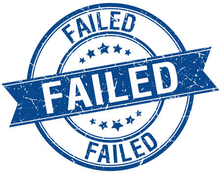 failed: failed grunge retro blue isolated ribbon stamp Illustration