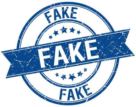 fake: fake grunge retro blue isolated ribbon stamp Illustration