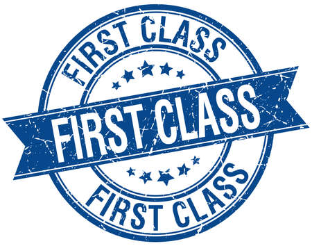 first class: first class grunge retro blue isolated ribbon stamp