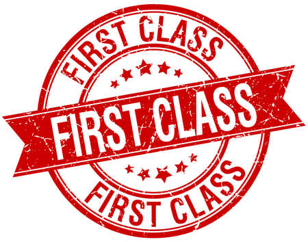first class: first class grunge retro red isolated ribbon stamp