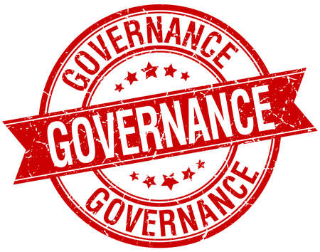 governance: governance grunge retro red isolated ribbon stamp