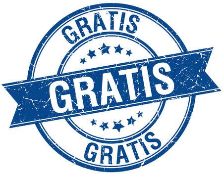 gratis: gratis grunge retro blue isolated ribbon stamp