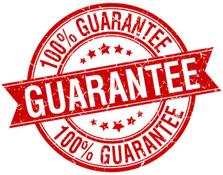 guarantee grunge retro red isolated ribbon stamp
