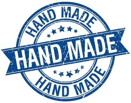 hand made: hand made grunge retro blue isolated ribbon stamp Illustration