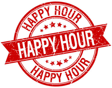 happy hour: happy hour grunge retro red isolated ribbon stamp Illustration