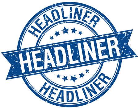 headliner: headliner grunge retro blue isolated ribbon stamp Illustration