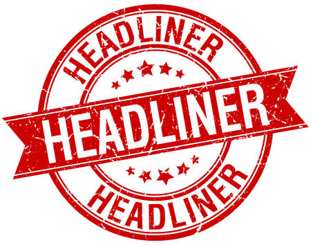 headliner: headliner grunge retro red isolated ribbon stamp Illustration