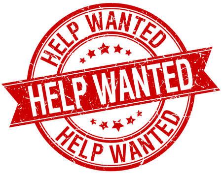 help wanted sign: ayuda quer�a grunge retro rojo aislado sello cinta Vectores