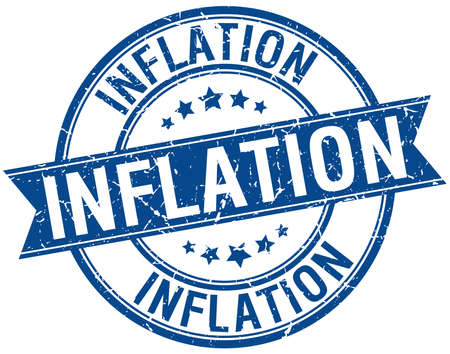 inflation: inflation grunge retro blue isolated ribbon stamp Illustration