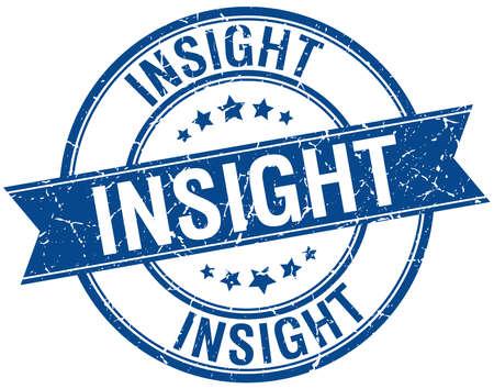 insight: insight grunge retro blue isolated ribbon stamp Illustration