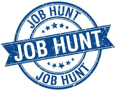 job hunt: job hunt grunge retro blue isolated ribbon stamp Illustration