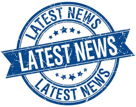 latest news: latest news grunge retro blue isolated ribbon stamp Illustration