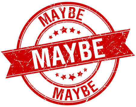 maybe: maybe grunge retro red isolated ribbon stamp Illustration
